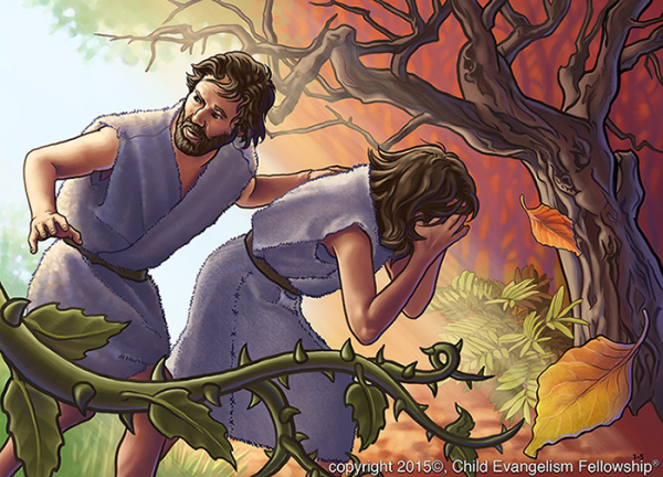 5-part Bible lesson series on Stewardship, lesson 1 – Let's appreciate and care for God's wonderful creation.   Picture 1-5 : Because of sin, Adam and Eve are driven out of the garden. After that, weeds and thorns grew up and sickness and death came into the world.