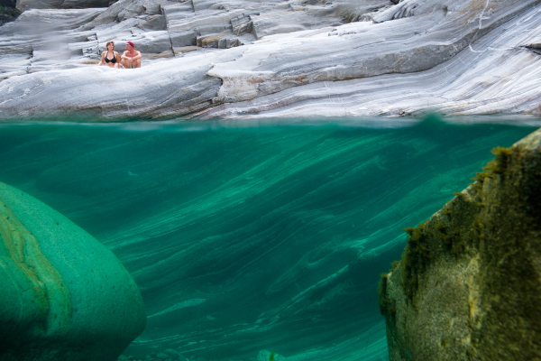 Super clear water where it can get up to 20-30m deep. There are several places one can dive from the rocks. Verzasca valley, Ticino region, Switzerland