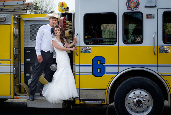 Who needs a limo when you can exit in style – by fire truck.