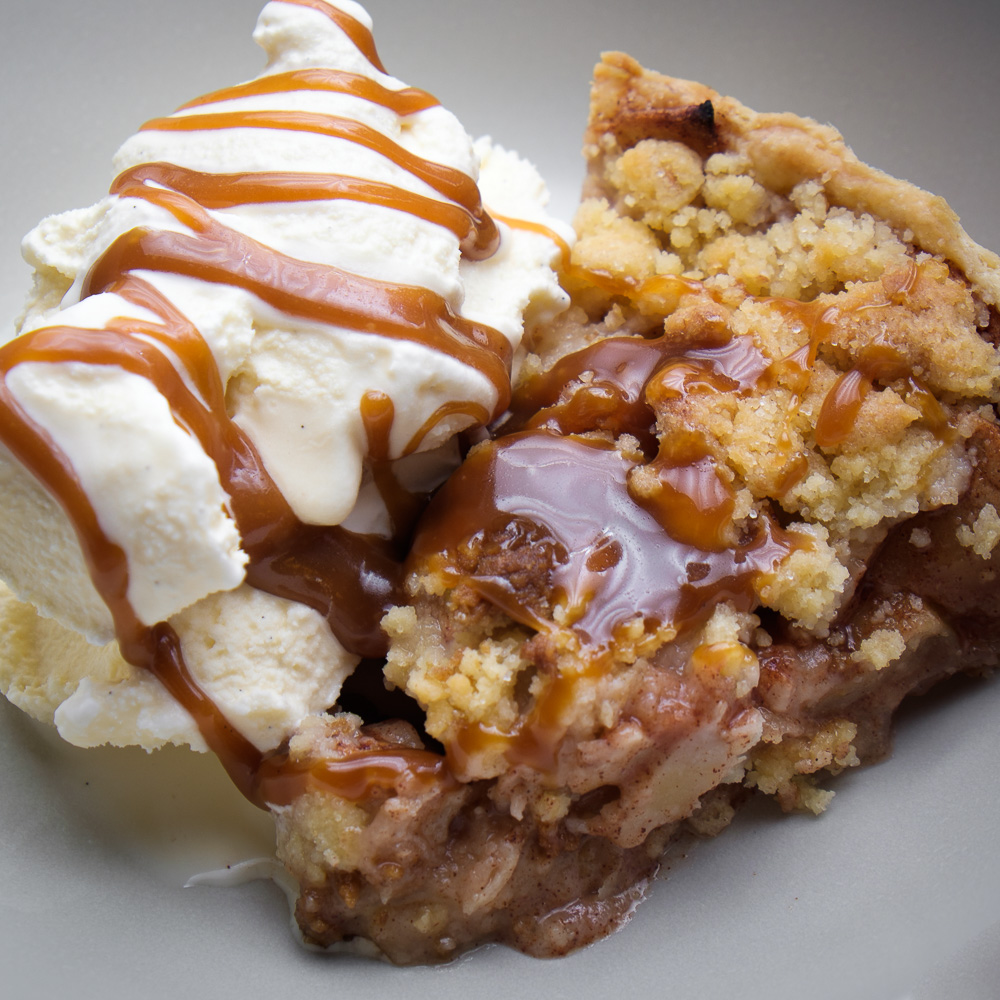 homemade apple pie, homemade caramel and homemade ice-cream.